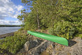 Canoe at a Wilderness Campsite Royalty Free Stock Photo