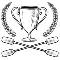Canoeing or boating trophy sketch Stock Photo