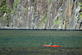 Canoeing on Fiordland Royalty Free Stock Images