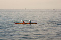 Canoeing trieste italy october couple in the trieste sea on soctober Royalty Free Stock Photos