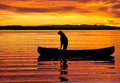 Canoeist at sunset Royalty Free Stock Photo
