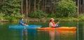 Canoers on Herbert Lake Royalty Free Stock Photo