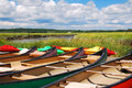 Canoes Await Royalty Free Stock Photo