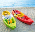 Canoes on the beach beautiful Stock Photography
