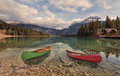 Canoes on Emerald Lake Royalty Free Stock Photo