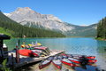 Canoes at Emerald Lake, Yoho National Park, British Columbia Royalty Free Stock Photo