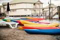 Canoes on the sand Stock Images