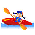 Canoing childrens sport in summertime Royalty Free Stock Photo