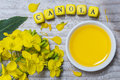 Canola with oil concept on gray wood Royalty Free Stock Photo