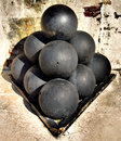 Canon balls at the old fort in key west florida Royalty Free Stock Image