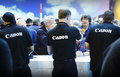 Canon customer care staff working focus imaging expo n e c birmingham england march Royalty Free Stock Image