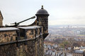 Canon at edinburgh castle with cityscape background Royalty Free Stock Photography