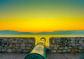 The canon over a stone made wall in nafplio city in greece Stock Photography