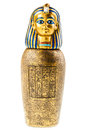 Canopic jar a golden reproduction isolated over a white background Stock Photo