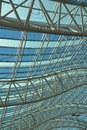 Canopy of curves curved truss structure at airport Royalty Free Stock Photo