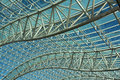 Canopy roof flowing trusses support translucent Stock Photo