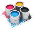 Cans with CMYK paint Stock Image
