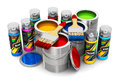 Cans with color paint, paintbrushes and spray paints Royalty Free Stock Photo