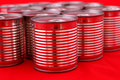 Cans a group of red Royalty Free Stock Images
