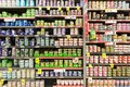 Cans of tuna, salmon and other kinds of fish displayed Royalty Free Stock Photo