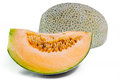 Cantaloupe or Charentais melon with half and seeds on white Royalty Free Stock Photo