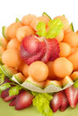 Cantaloupe Melon Balls and Strawberries Stock Photography