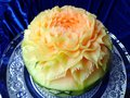 Cantaloupe melon fruit beautiful creative Thai original carving Royalty Free Stock Photo