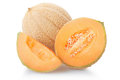 Cantaloupe melon section and slice on white isolated clipping path Stock Photo