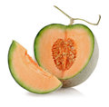 Cantaloupe melon slices isolate on white background with clipping path Stock Images