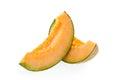 Cantaloupe melon slices on white background Royalty Free Stock Image