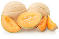 Cantaloupe melons group on white Royalty Free Stock Photo