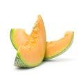 Cantaloupe slices close up of on white background Stock Photo