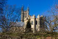 Canterbury cathedral united kingdom view of from a walled garden blue sky in background Stock Image
