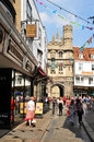 Canterbury uk august tourists walk along medieval cobbled streets in the old town of Stock Photography