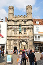 Canterbury uk august tourists walk along medieval cobbled streets in the old town of Royalty Free Stock Images