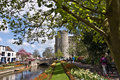 Canterbury westgate towers and gardens uk april the the are the largest surviving medieval gate in england has Royalty Free Stock Image