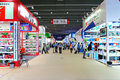 Canton fair household products visitors at the hall displaying items at the in china Royalty Free Stock Photography