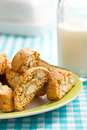 Cantuccini cookies on checkered tablecloth the Royalty Free Stock Photo