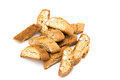 Cantuccini italian biscotti biscuits isolated object on white multiple Royalty Free Stock Images