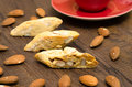 Cantuccini with red cup espresso Royalty Free Stock Photography