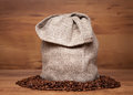 Canvas bag with coffee beans Stock Photo