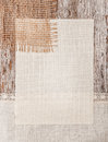 Canvas burlap and linen fabric on the old wood wooden background Royalty Free Stock Photos