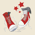 Canvas shoes sketch vector graphic pen design of a red sneakers vector graphic pen design of a red sneakers Royalty Free Stock Photography