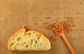 Canvas with slice of bread and ripe grains Royalty Free Stock Photo