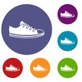 Canvas sneaker icons set