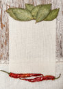 Canvas spices and linen fabric on the old wood wooden background Stock Images