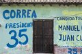 Canvassing in ecuador central rd september wall of an ecuadorian house with advertisements for the presidential election rafael Royalty Free Stock Images