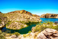 Canyon Lake and the Desert Landscape of Tonto National Forest Royalty Free Stock Photo