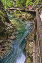 Canyon vintgar wooden path trough with river slovenia Royalty Free Stock Photos