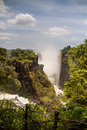 Canyon and waterfall of victoria falls zimbabwe trees Royalty Free Stock Images